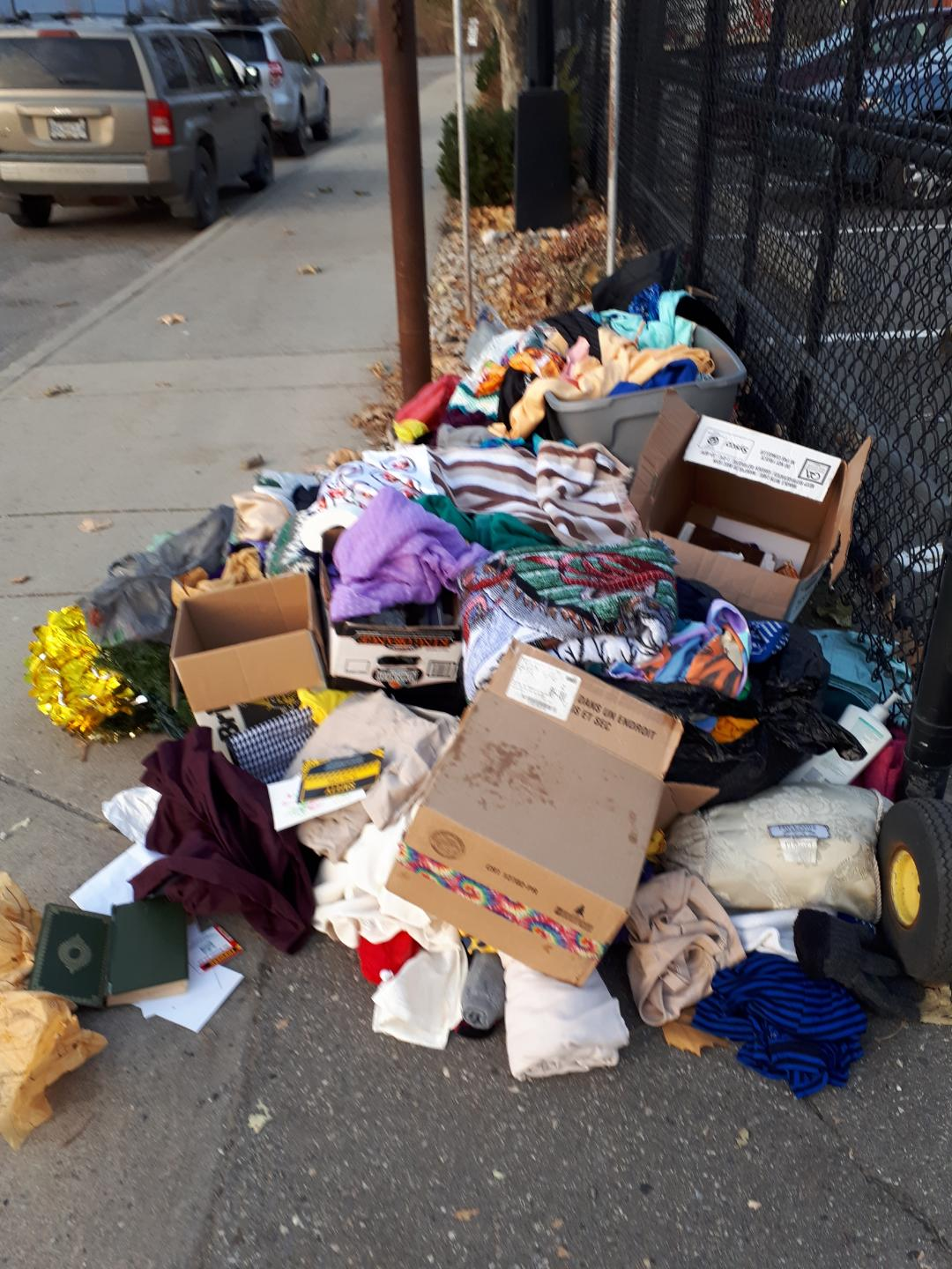 Donations left outside fence